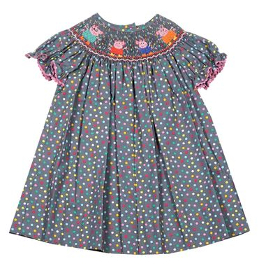 Baby / Toddler Girls Gray / Multi Dots Bishop Dress - Smocked Peppa Pig Family - Exclusively for The Best Dressed Child by Anavini