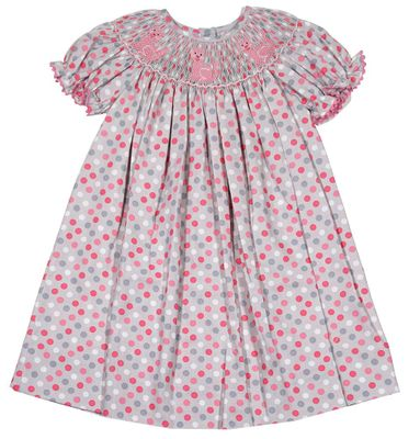 Baby / Toddler Girls Gray / Pink Dots Bishop Dress - Smocked Kitty Cats - Exclusively for The Best Dressed Child by Anavini