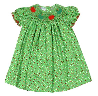 Baby / Toddler Girls Green Dots Bishop Dress - Smocked Fall Apples - Exclusively for The Best Dressed Child by Anavini