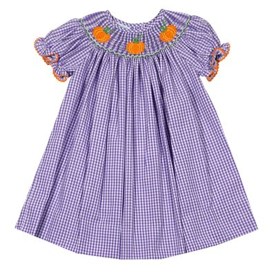 Baby / Toddler Girls Lavender Gingham Bishop Dress - Smocked Pumpkins - Exclusively for The Best Dressed Child by Anavini