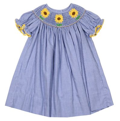 Baby / Toddler Girls Blue Check Bishop Dress - Smocked Sunflowers - Exclusively for The Best Dressed Child by Anavini