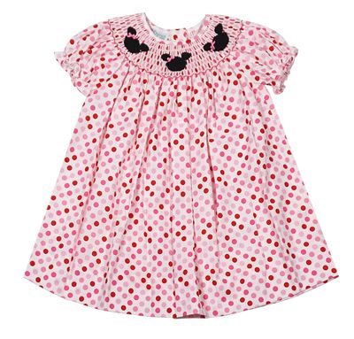 Baby / Toddler Girls Pink / Red Dots Bishop Dress - Smocked Mouse Ears - Exclusively for The Best Dressed Child by Anavini