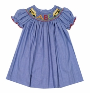 Baby / Toddler Girls Royal Blue Check Bishop Dress - Smocked Back to School - Exclusively for The Best Dressed Child by Anavini