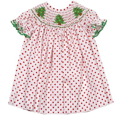 Baby / Toddler Girls White / Red Dots Smocked Christmas Trees Bishop Dress - Exclusively for The Best Dressed Child by Anavini
