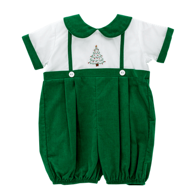 Bailey Boys Baby Bubble - Kelly Green Corduroy - Embroidered Christmas Tree