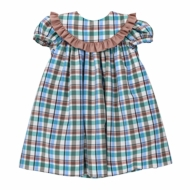 Bailey Boys Baby / Toddler Girls Float Dress - Brown / Green Wood Duck Plaid