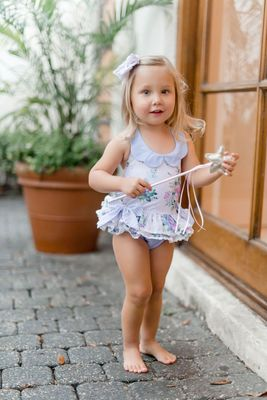 Be Girl Baby / Toddler Girls Lavender Floral Everly One Piece Sun/Swim Suit