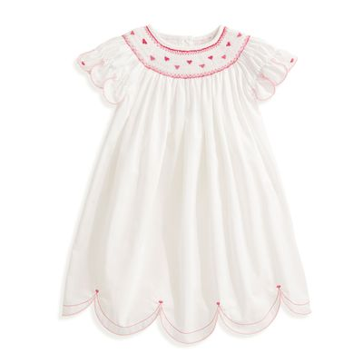 bella bliss Girls Avery Scallop Dress - White - Smocked with Pink Hearts
