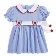 bella bliss Girls Blue Chambray Embroidered Apples Dress