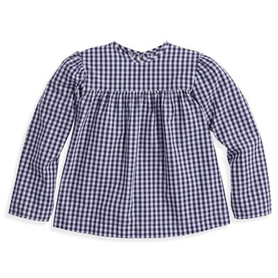 bella bliss Girls Toulouse Blouse - Navy Blue Check - Red Heart Ties