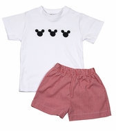 Best Dressed Child Toddler Boys Red Gingham Shorts with Mouse Ears Shirt