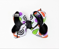 Beyond Creations Girls Grosgrain Layered Double Knot Bow on Clip - Halloween Circles
