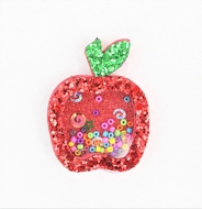 Beyond Creations Girls Pinch Clip Add-On to Bow - Red Glitter Shaker Back to School Apple - Small