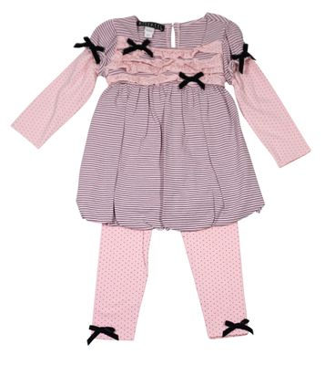Biscotti Baby / Toddler Girls Pink / Brown Striped Bubble Dress with Dot Leggings