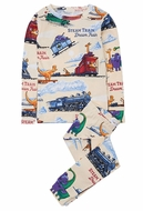 Books to Bed Boys Steam Train Dream Train Pajamas - Tan