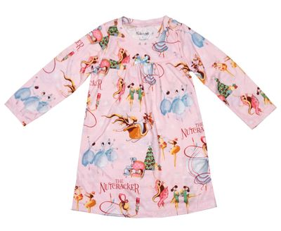 Books to Bed Girls Pink Nutcracker Christmas Ballet - Loungewear Dress