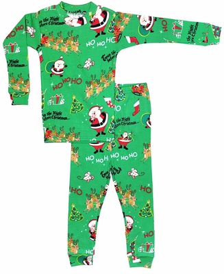 Books to Bed Green HO HO HO Christmas Pajamas Only - Boy