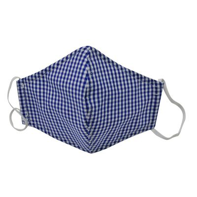 Busy Bees Children's Face Masks - Gingham Check - Blue