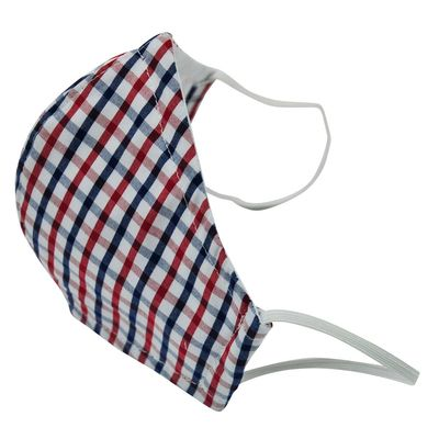 Busy Bees Children's Face Masks - Red / White / Blue Check