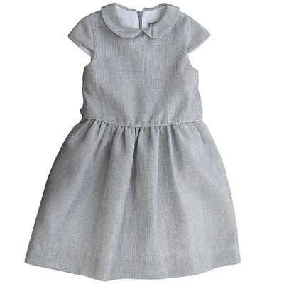 Busy Bees Girls Silver Sparkle Anna Dress Peter Pan Collar Sash