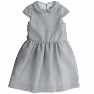 Busy Bees Girls Silver Sparkle Anna Dress - Peter Pan Collar & Sash