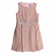 Busy Bees Girls Sleeveless Pink Sparkle Tweed Aylah Box Pleat Dress
