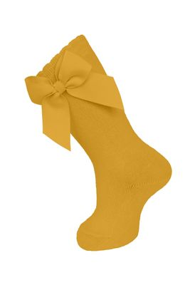 Carlomagno Socks - Girls Cotton Knee High Socks - Attached Grosgrain Bow - Curry Mustard
