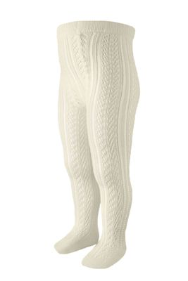 Carlomagno Socks - Girls Perle Cotton Open Work Tights - Natural Ivory