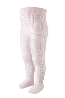 Carlomagno Socks - Girls Perle Cotton Open Work Tights - Soft Pink
