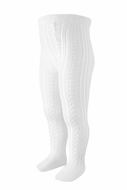 Carlomagno Socks - Girls Perle Cotton Open Work Tights - White