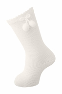 Carlomagno Socks - Girls Scottish Yarn Knee High Socks with Pom Poms - Natural Ivory