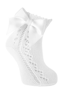 Carlomagno Socks - Girls Scottish Yarn Open Work Ankle Socks - Attached Bow - White