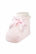 Carlomagno Socks - Scottish Yarn Newborn Booties with Bow - Soft Pink