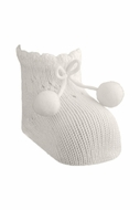 Carlomagno Socks - Scottish Yarn Newborn Booties with Pom Poms - Natural Ivory