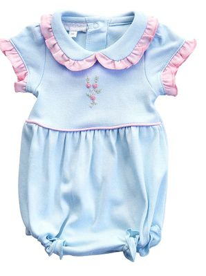 Magnolia Baby Girls Blue Charlotte's Classics Bubble with Collar
