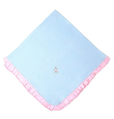 Magnolia Baby Girls Blue Charlotte's Classics Pink Ruffle Receiving Blanket