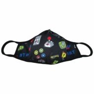 iscream Children's Face Mask - Black Level Up Video Gamer Print