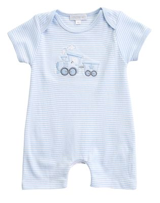 Magnolia Baby Boys Blue Choo Choo Applique Short Playsuit