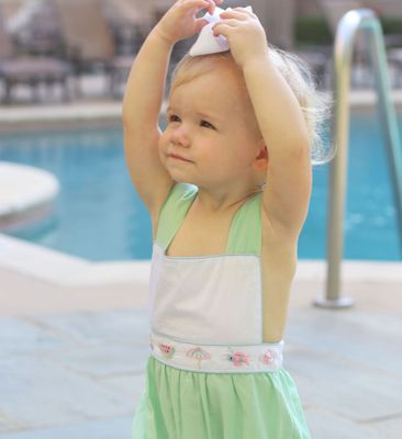 Christian Elizabeth & Co. Girls Mint Green Embroidered Buffett Beach Club Sunsuit