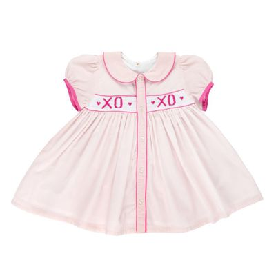 Christian Elizabeth & Co. Girls Pink Smocked XOXO Valentine Dress