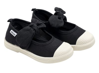 Chus Shoes - Girls Athena Velcro Mary Jane with Bow - Black