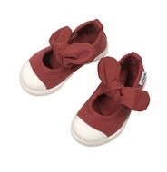 Chus Shoes - Girls Athena Velcro Mary Jane with Bow - Burgundy Bordeaux