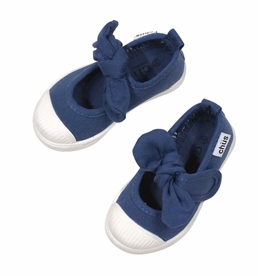 Chus Shoes - Girls Athena Velcro Mary Jane with Bow - Navy Blue