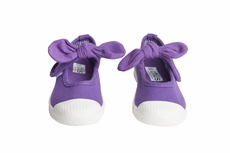 Chus Shoes - Girls Athena Velcro Mary Jane with Bow - Purple