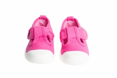 Chus Shoes - Girls Chris Canvas Velcro T-Strap - Fuchsia Pink
