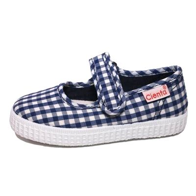 Cienta Shoes Girls Canvas Mary Janes - Gingham - Navy Blue