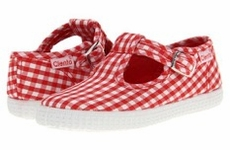 Cienta Shoes Girls Canvas T-Strap - Gingham - Red
