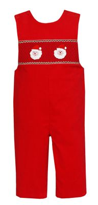 Claire & Charlie Baby / Toddler Boys Red Corduroy Smocked / Crochet Santa Longall