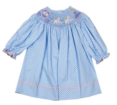 Claire & Charlie Baby / Toddler Girls Blue / White Dots Smocked Cinderella Bishop Dress - Long Sleeves