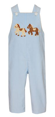 Claire & Charlie Baby Boys Blue Corduroy Longall with Horses - Reverses to Khaki Tan Check